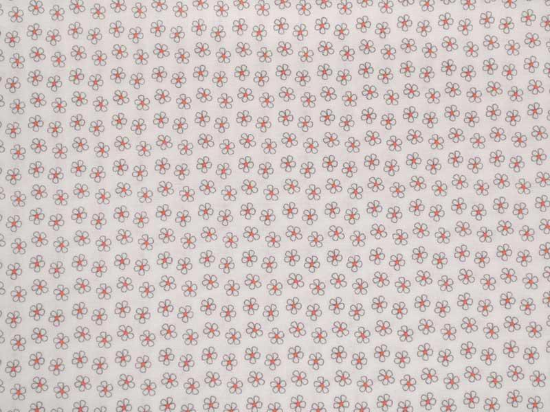 Памучен плат Poplin-Бял-плат-на-дребни-цветчета---50-х-46-см