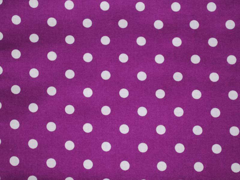 Памучен плат Poplin-Големи-бели-точки-на-виолетов-фон-50-х-46-см
