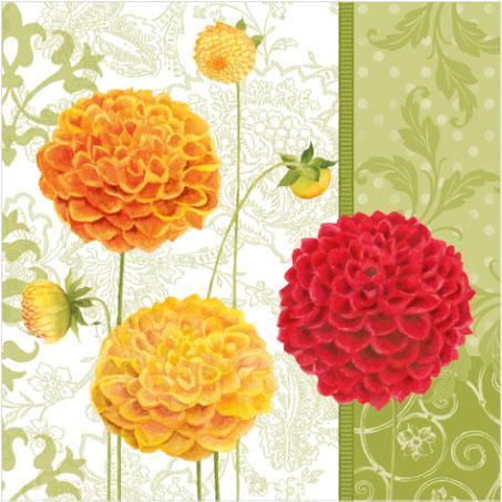 Пакет салфетки-PAW - 33x33см Есенни цветя -20бр