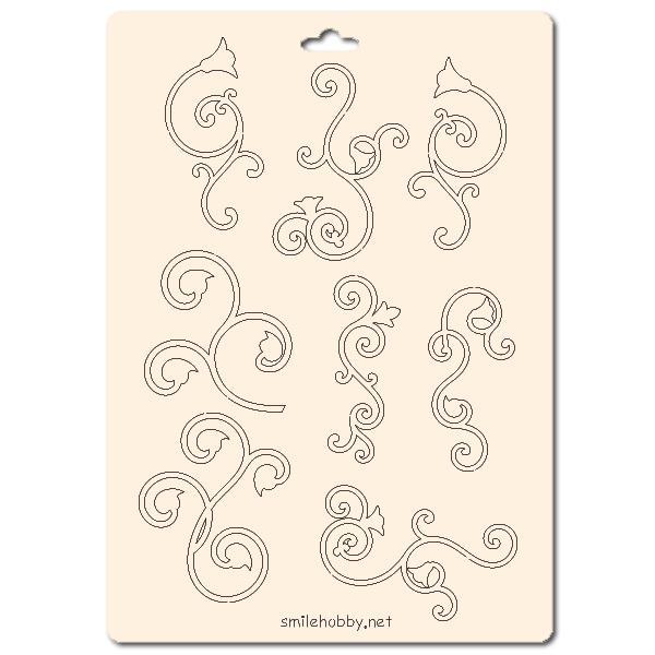 Сет от бирен картон 15х20см - Флорални елементи 14