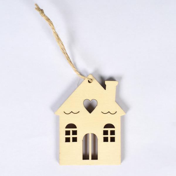 Декоративна дървена къщичка 70х55мм