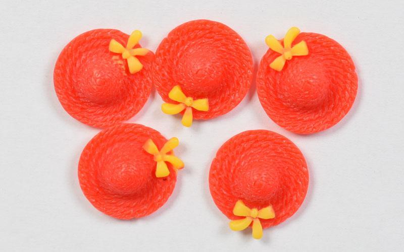 Елементи от полирезин -червени шапки 17мм - 5бр