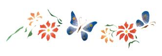 Шаблон цветя и пеперуда, 13 х 40 см