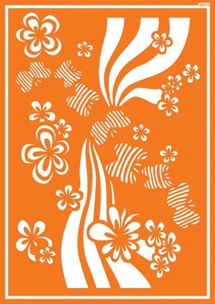 Шаблон за текстил Цветя и пеперуди 30 х 21 см