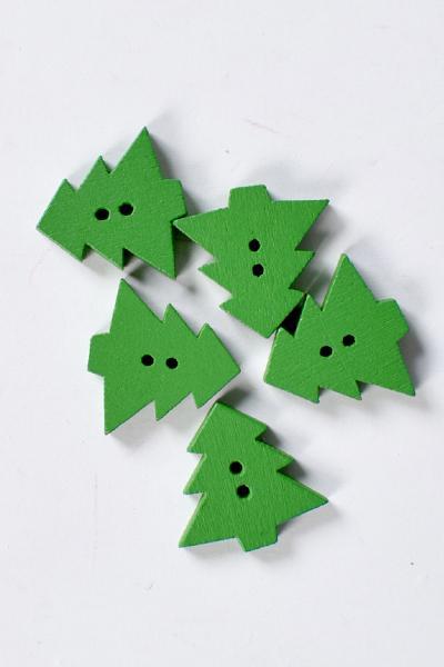Дървени елхички 2х2 см.- зелени  5бр.