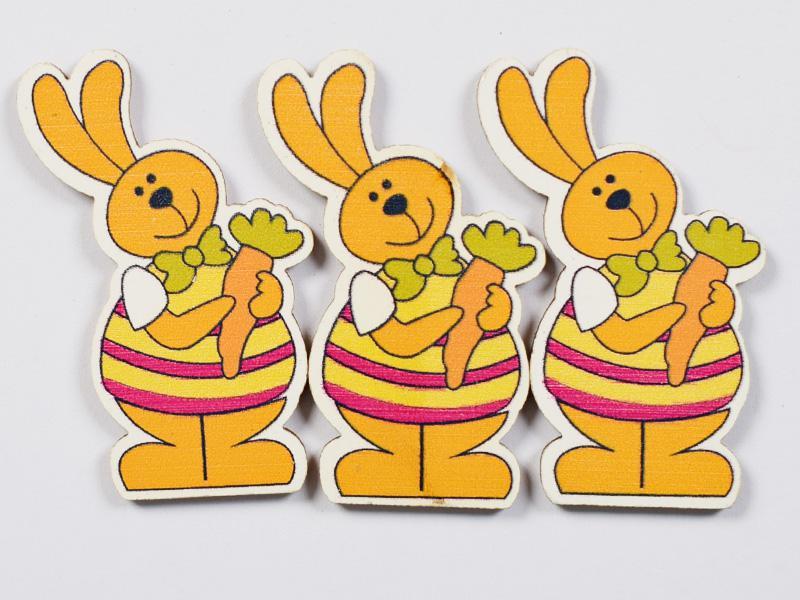 Декоративни дървени зайци с морков- 45х35мм - 3бр