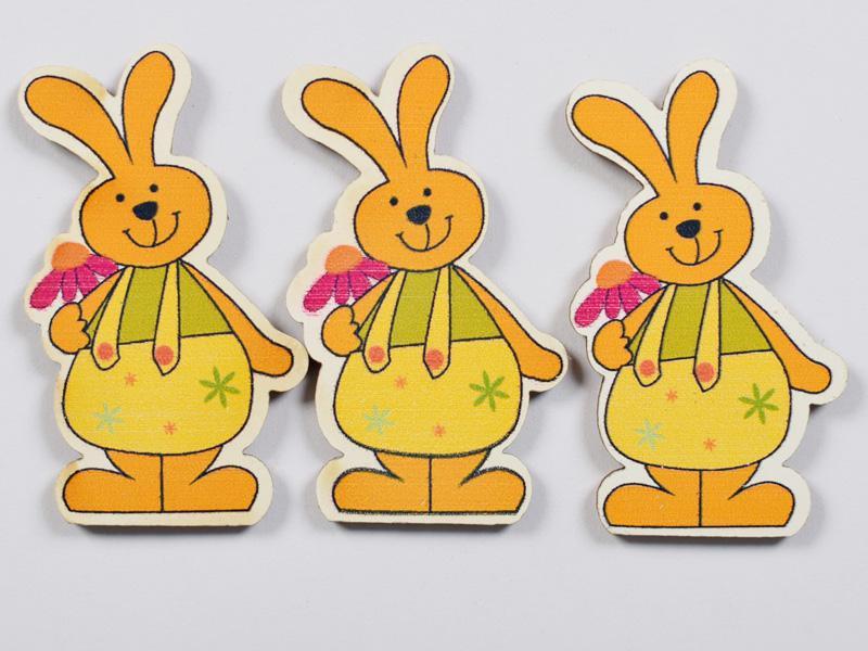 Декоративни дървени зайци с цвете - 45х25мм - 3бр