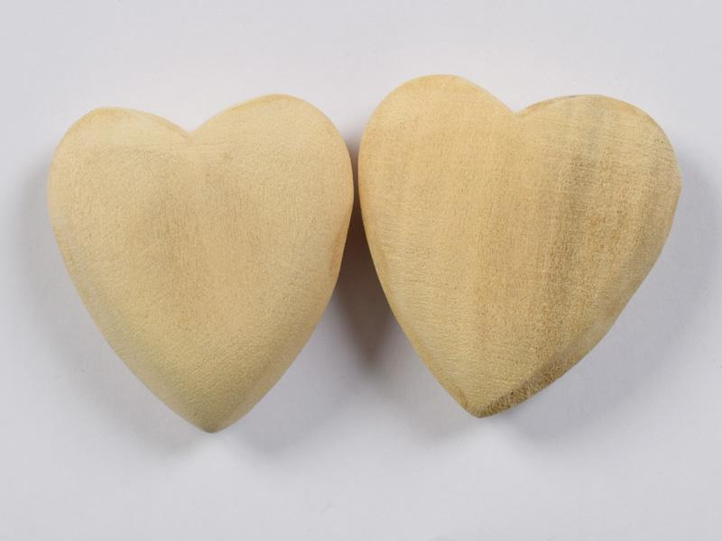 Декоративни дървени сърца натурални 40мм- 2бр