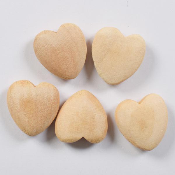 Декоративни дървени сърца натурални 20мм- 5бр