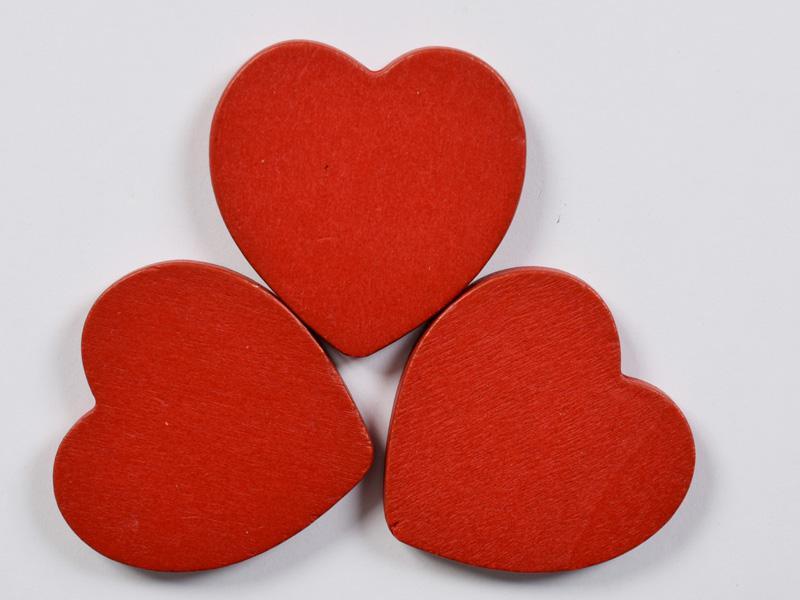 Дървени сърца червени 40мм- 3бр.