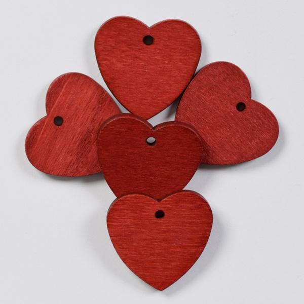 Дървени сърца червени 25мм- 5бр.