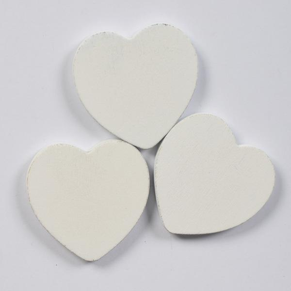 Дървени сърца бели 40мм- 3бр.