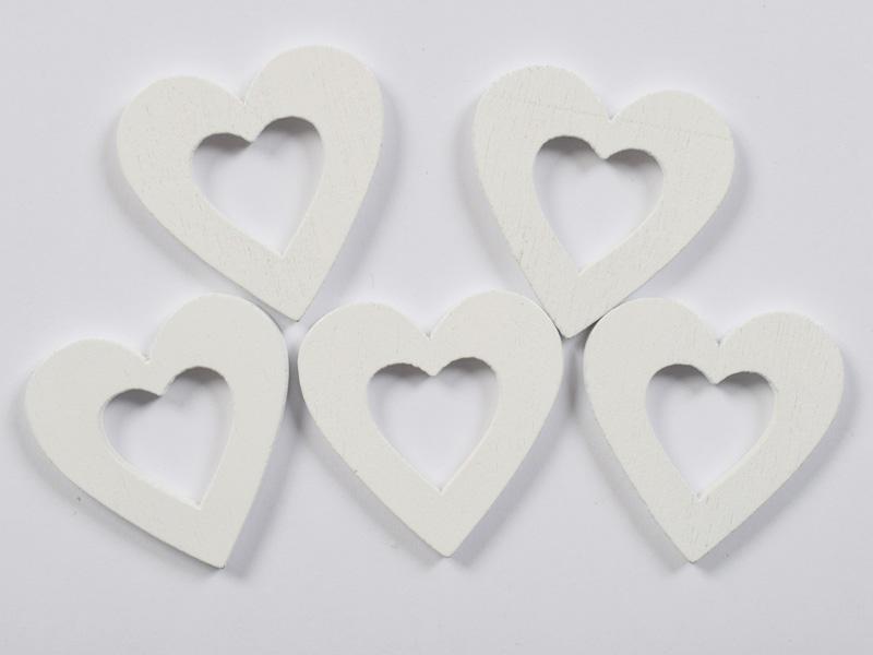 Дървени сърца бели изрязани 30мм- 5бр.