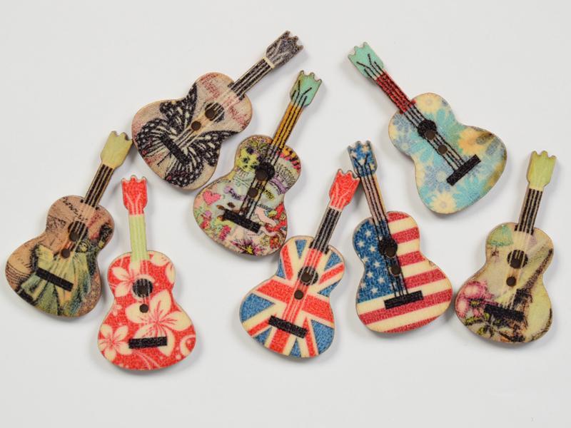 Декоративни  копчета микс- китари 8 бр