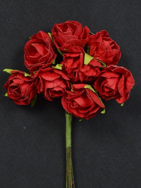 Букет хартиени рози - червени 2см - 8бр.