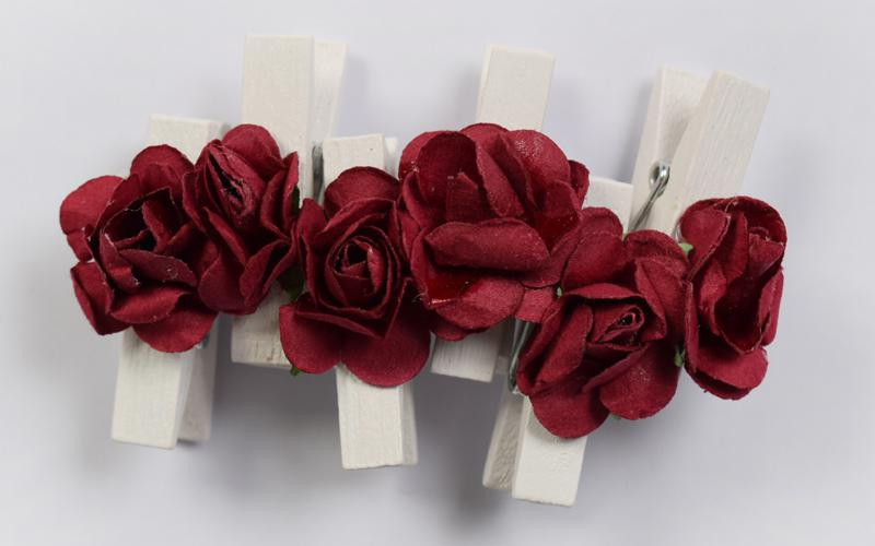 Декоративни  щипки с рози -  6 бр.- бордо