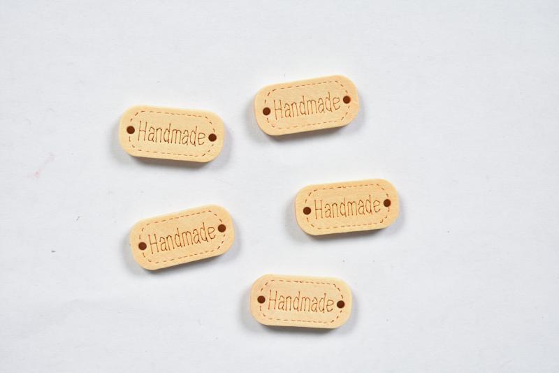 Дървена мини табелка Handmade 2,3х0,7 см - 5бр