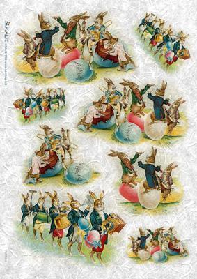 Оризова хартия за декупаж KALit, 32х45 см  - Великденски зайци
