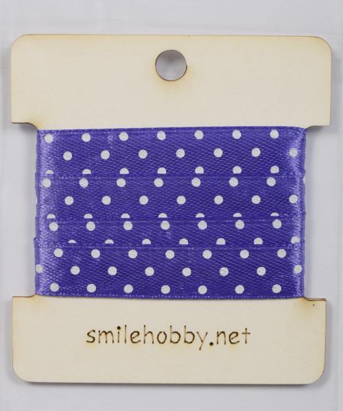 Текстилна лента лилаво на бели точки 1,2 см - 1м