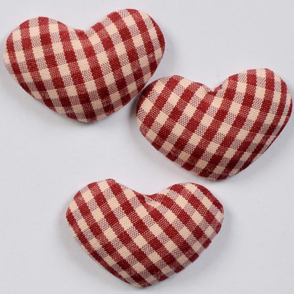 Декоративни сърца облечени в кариран плат - 30х25мм - 3бр.