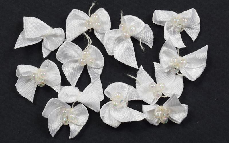Декоративни панделки -12бр - бели с перли