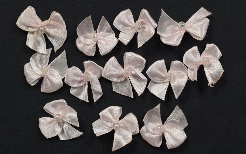 Декоративни панделки -12бр - розови с перли