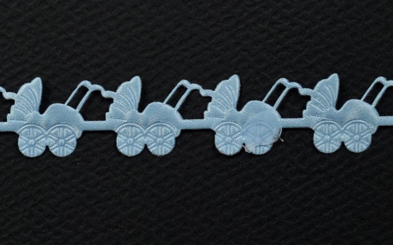 Декоративна дантела синя количка - 1м.