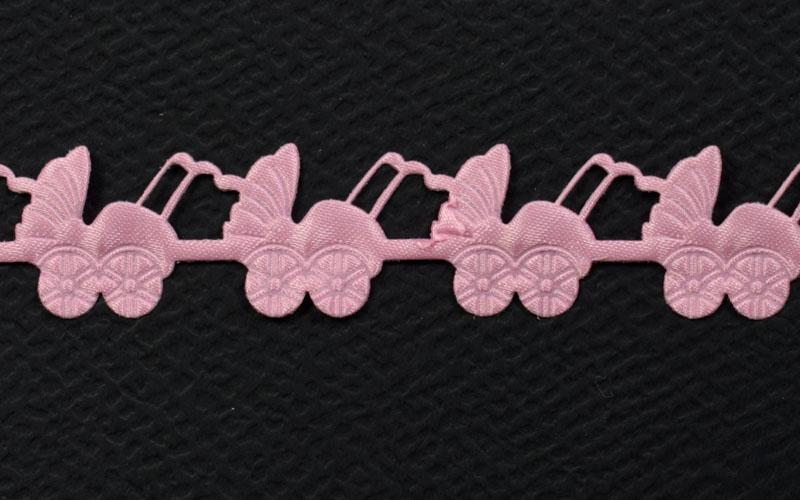 Декоративна дантела розова количка - 1м.