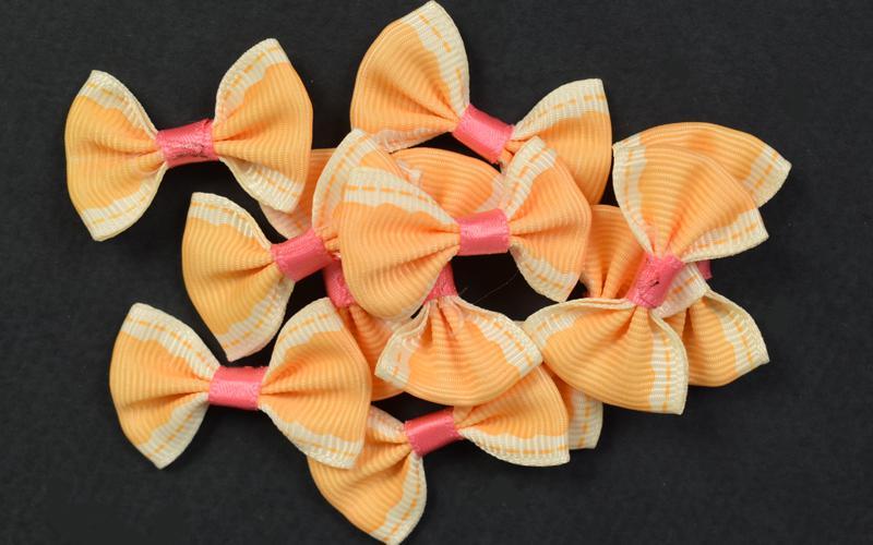 Декоративни панделки рипс - оранжеви - 10бр. 3,5х2,5 см
