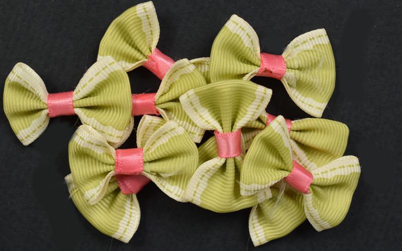 Декоративни панделки рипс - зелени - 10бр. 3,5х2,5 см