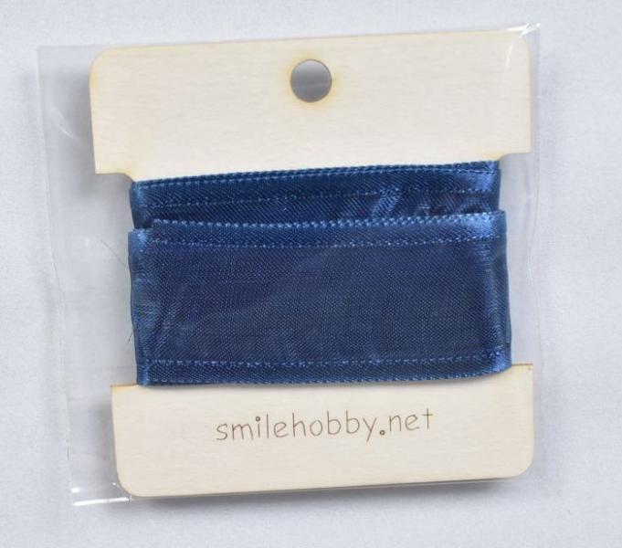 Декоративна лента органза 1м. - 25мм- тъмно синя