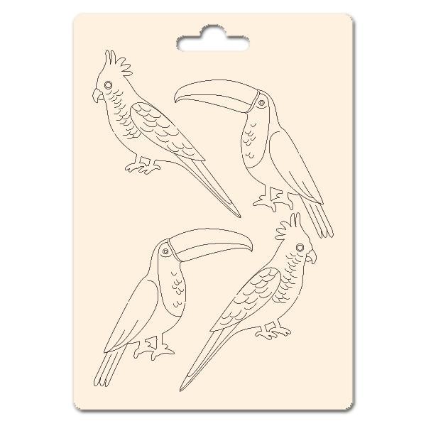 Сет от бирен картон 7х10см - Птици 2