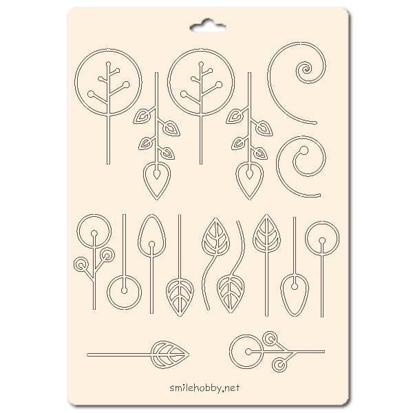 Сет от бирен картон 15х20см - Флорални елементи 16