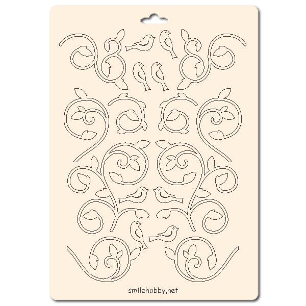 Сет от бирен картон 15х20см - Флорални елементи 11