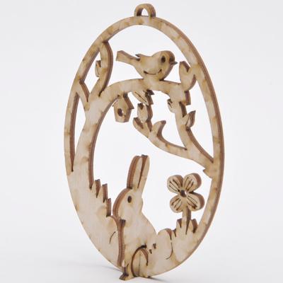 Дървено яйце 3D заек