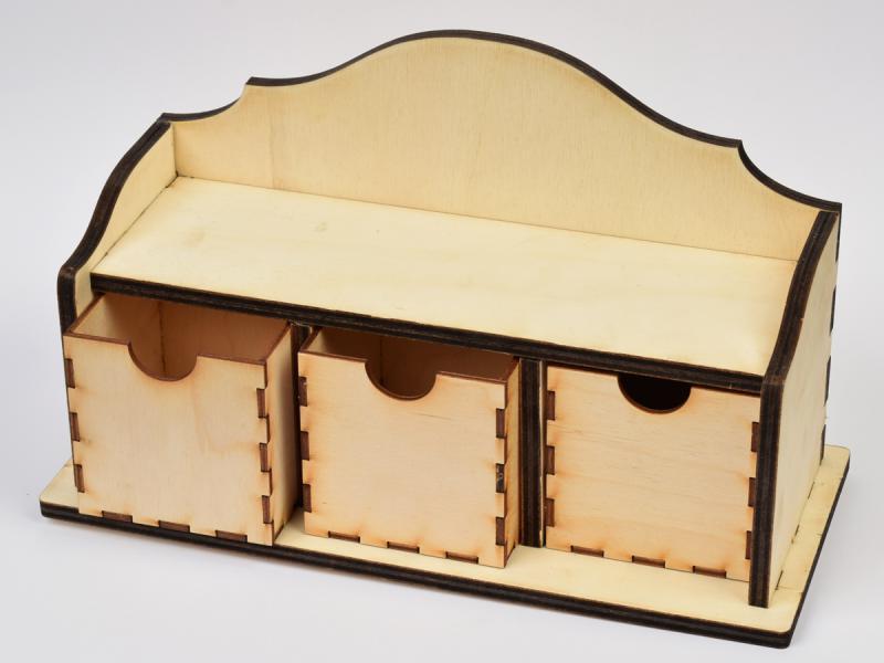 Дървена етажерка с 3 чекмеджета 29,7х17,5х13 см
