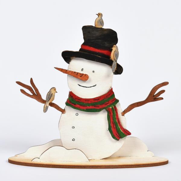 3D Снежен човек с птички