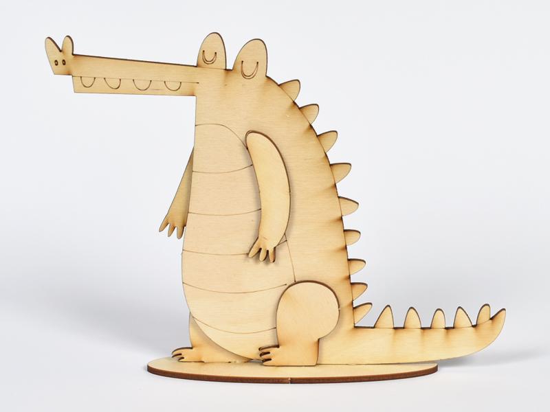 3D Дървен крокодил