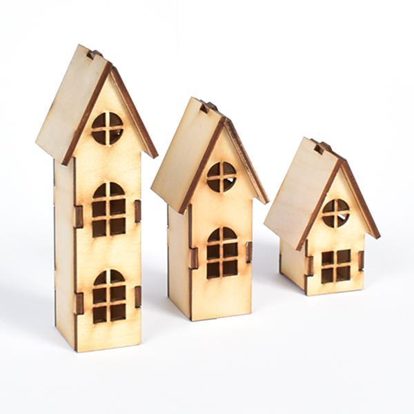 3D Дървени къщички 3 бр.