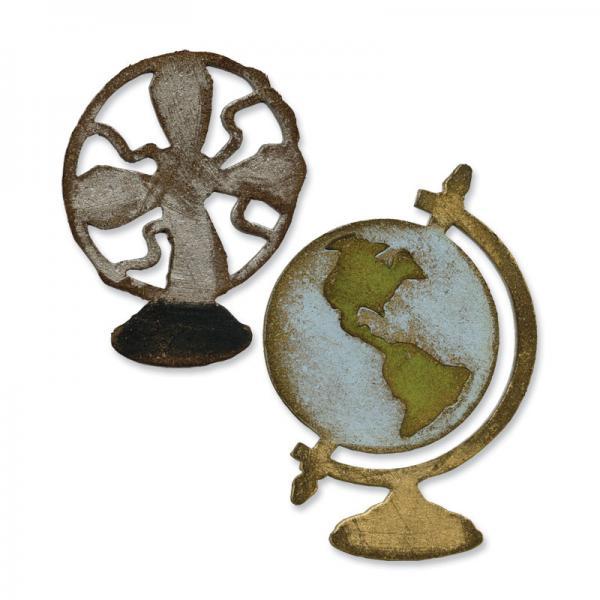 Щанци за изрязване  - Vintage Fan&Globe Set