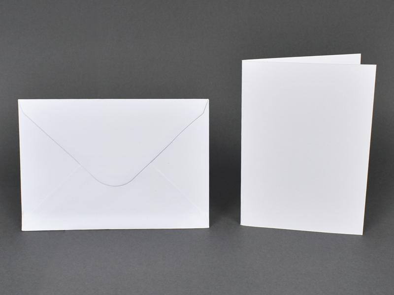 Основи за картички 10.5х15 см и пликове 11.5х16.5 см, по 5 бр. в к-т - бели
