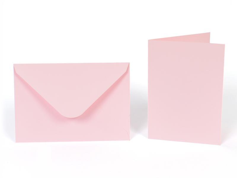 Основи за картички 10.5х15 см и пликове 11.5х16.5 см, по 5 бр. в к-т - светло розово
