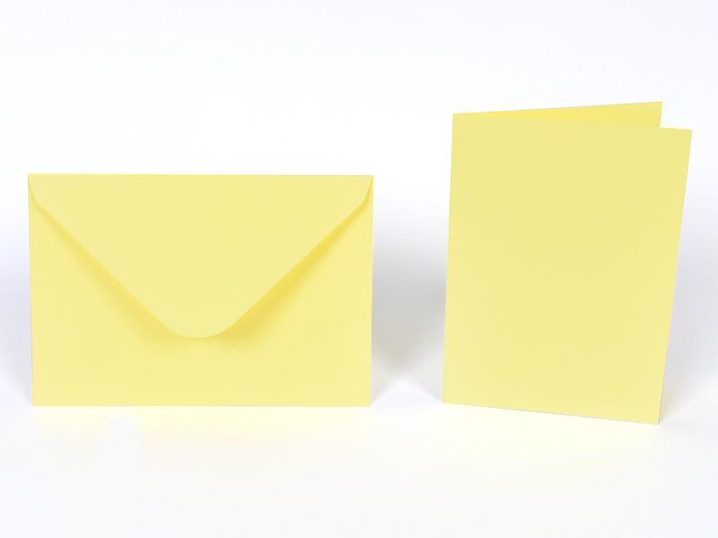 Основи за картички 10.5х15 см и пликове 11.5х16.5 см, по 5 бр. в к-т - пастелно жълто