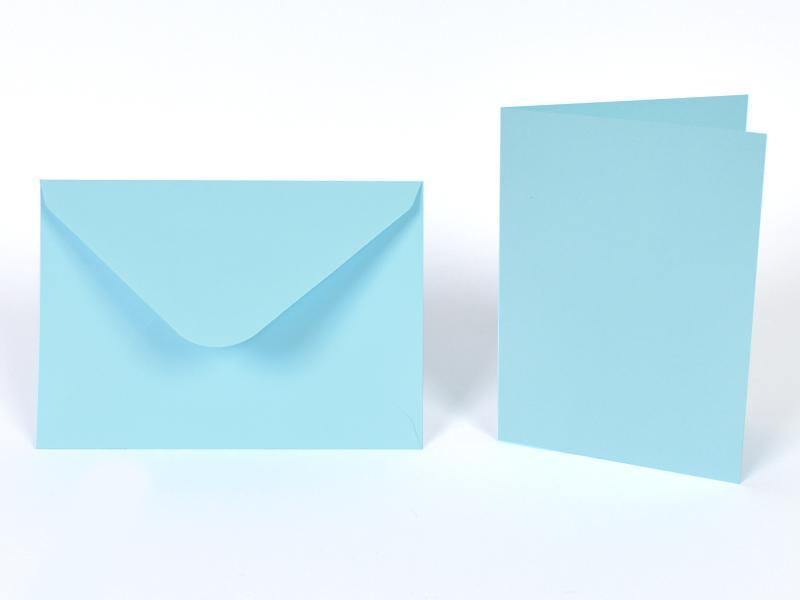 Основи за картички 10.5х15 см и пликове 11.5х16.5 см, по 5 бр. в к-т - пастелно синьо