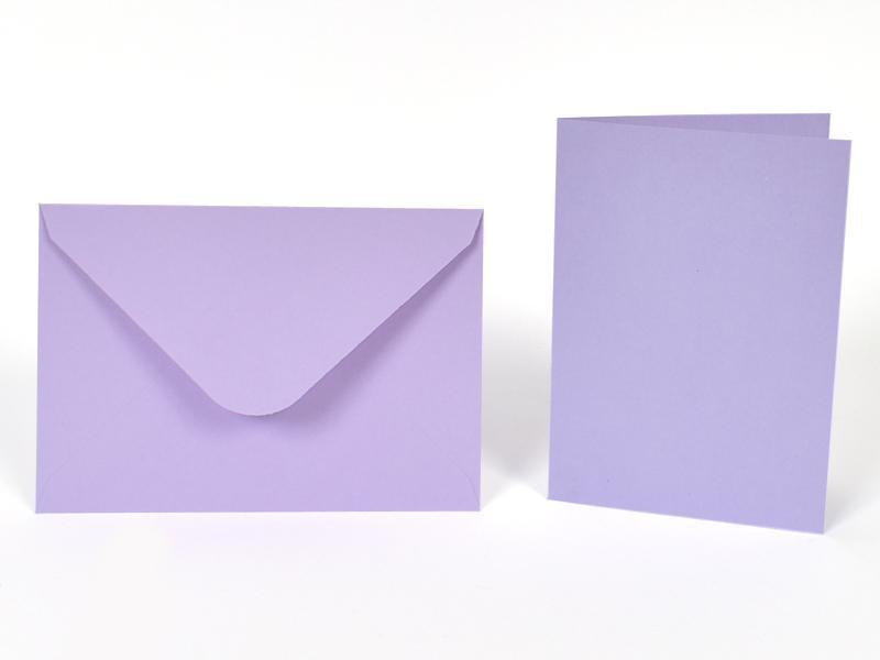 Основи за картички 10.5х15 см и пликове 11.5х16.5 см, по 5 бр. в к-т - светло лилаво