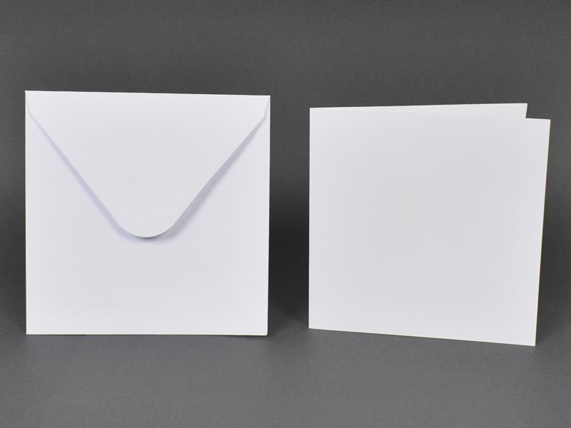 Основи за картички 15х15 см и пликове 16х16 см, по 5 бр. в к-т - бели