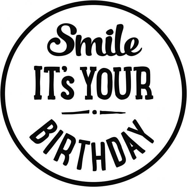Гумен печат с дървена дръжка - Smile it's your birthday