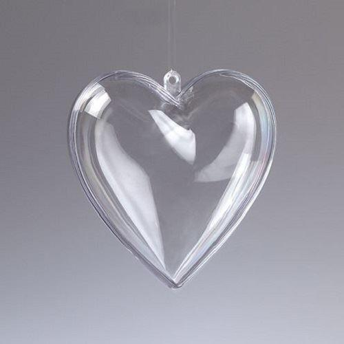 Прозрачно пластмасово сърце от две части - 6,5 см