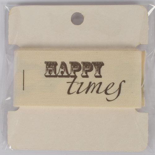 Памучна текстилна лента 1м, 25мм - Happy times
