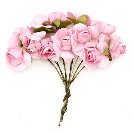 Хартиени рози за декорация 20мм, 12 бр. - розово